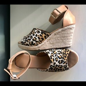 Shoes - Leopard Wedge Peep Toe Ankle Strap Sandal